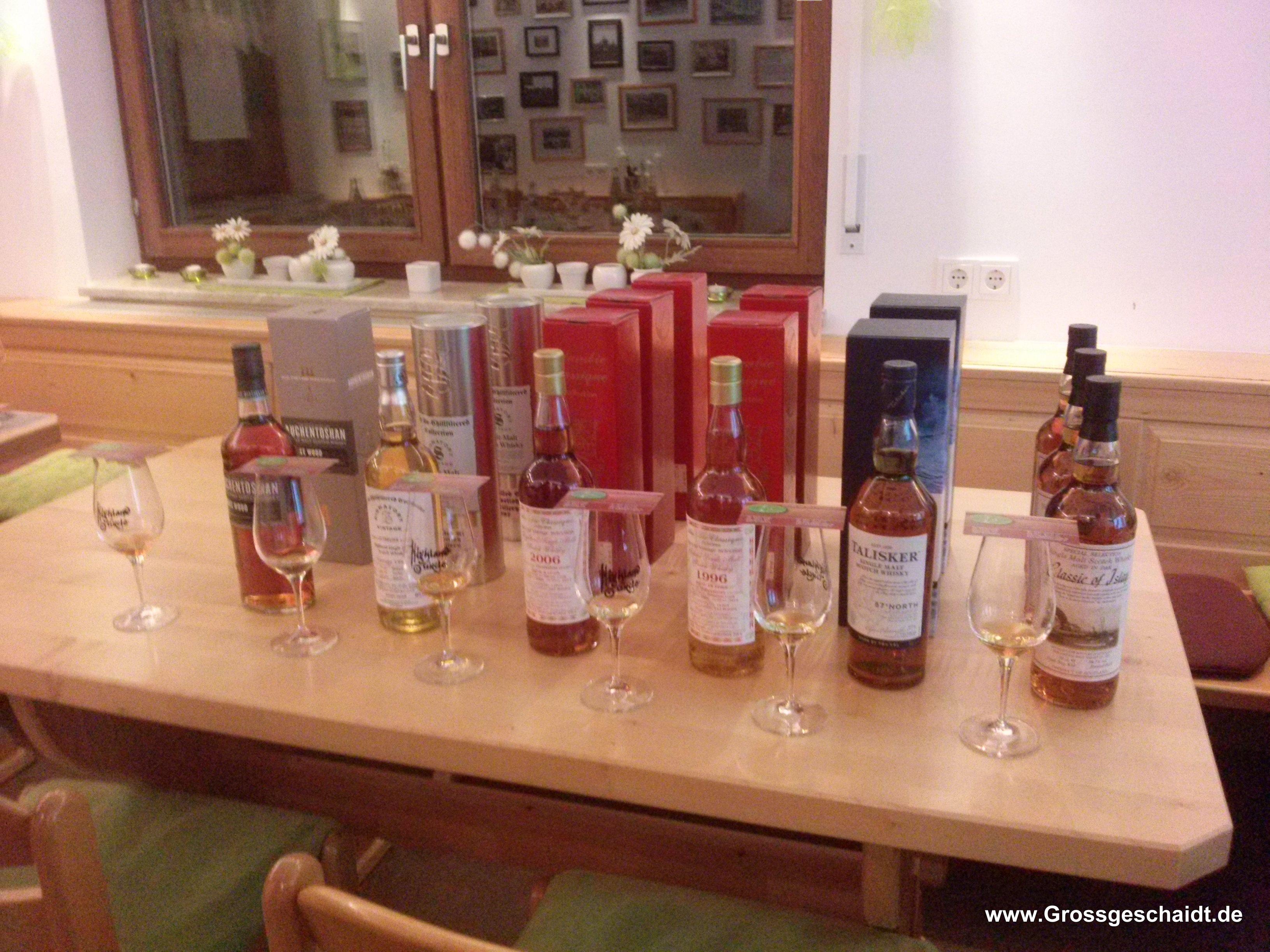 Das Abendprogramm: Auchentoshan, Clynelish, Deanston, Tobermory, Talisker und Classic of Islay